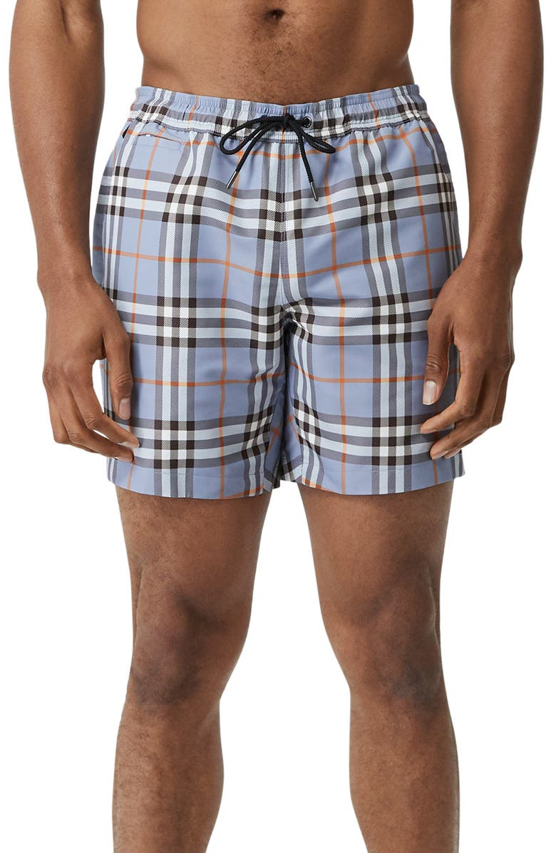 BURBERRY Martin Check Swim Trunks, Main, color, PORCELAIN BLUE IP CK