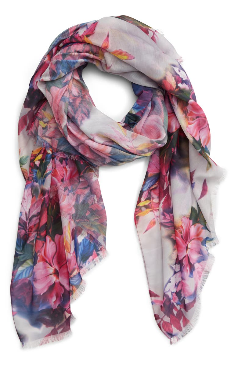 SOLE SOCIETY Floral Print Scarf, Main, color, BLUE MULTI