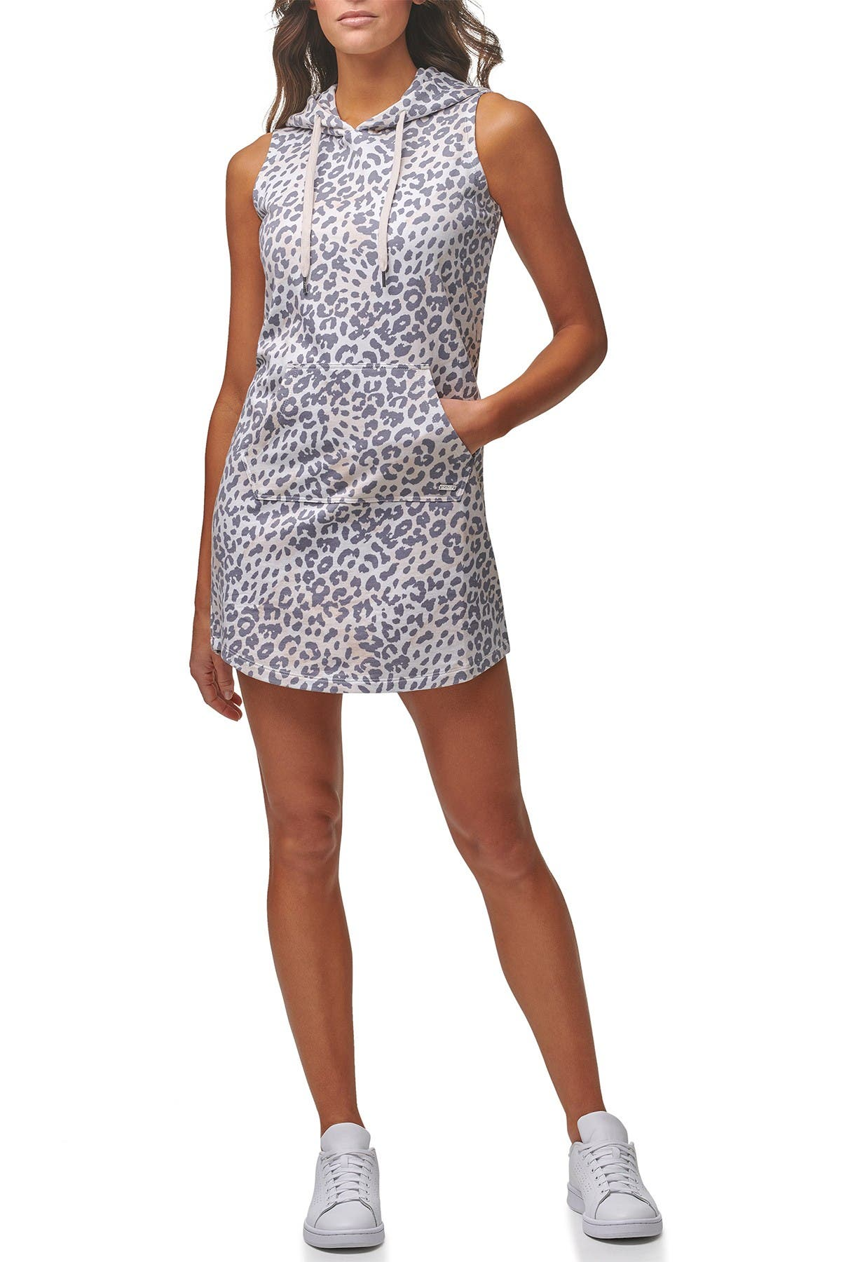 Image of MARC NEW YORK PERFORMANCE Leopard Drawstring Hoodie Dress