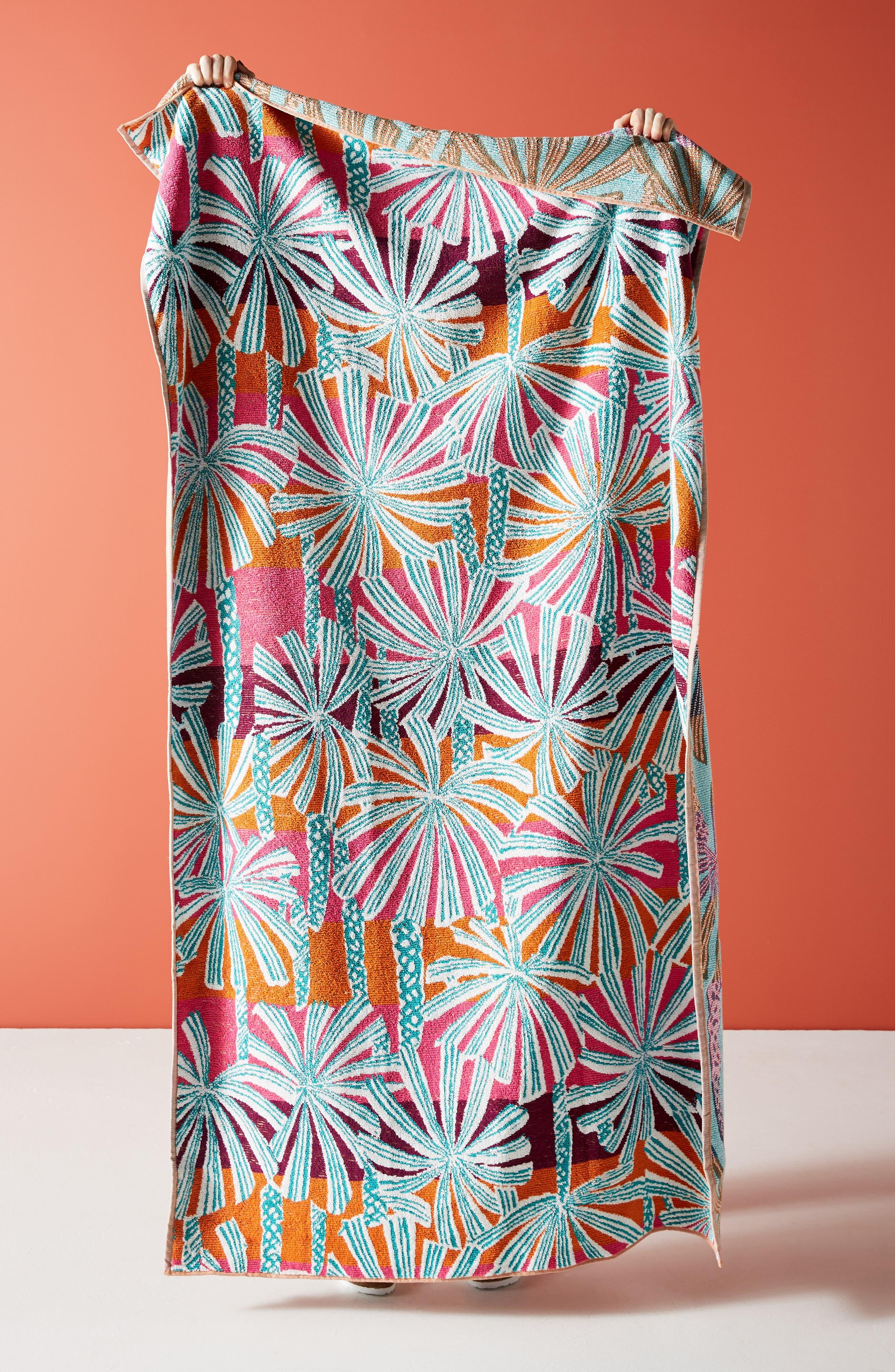 Palm Beach Cotton Beach Towel, Main, color, WARM