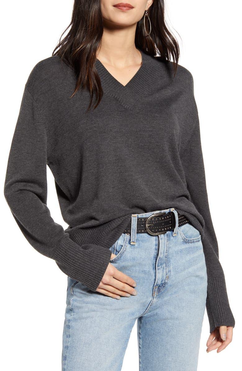 TREASURE & BOND V-Neck Sweater, Main, color, DARK CHARCOAL HEATHER