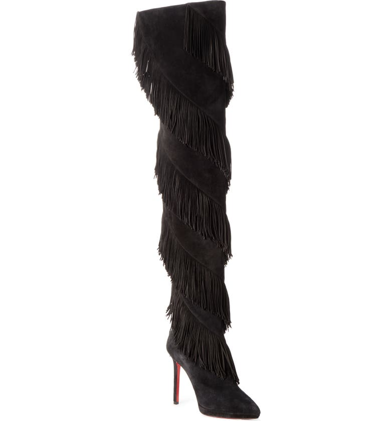 CHRISTIAN LOUBOUTIN Bolcheva Fringe Over the Knee Boot, Main, color, BLACK