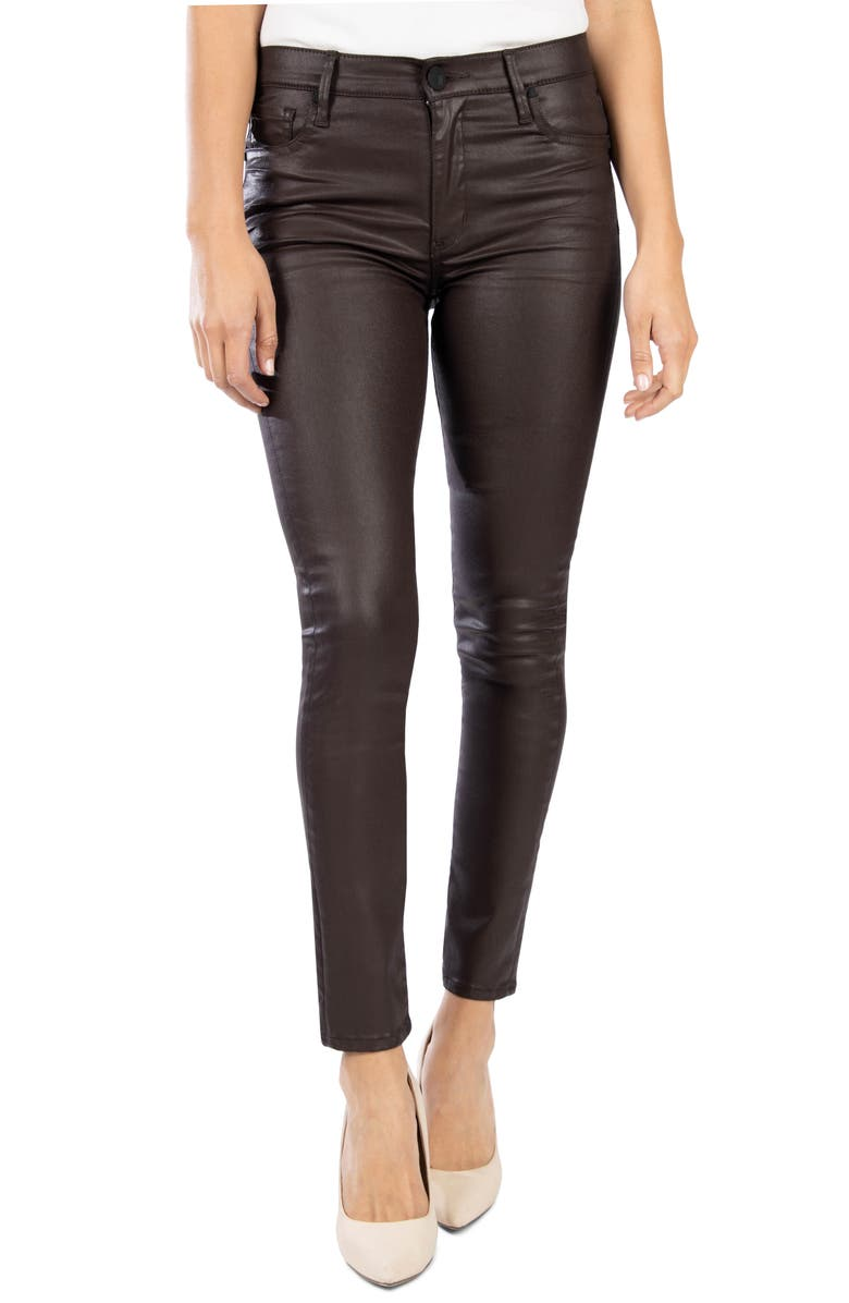 KUT FROM THE KLOTH Mia High Waist Toothpick Skinny Jeans, Main, color, CHOCOLATE