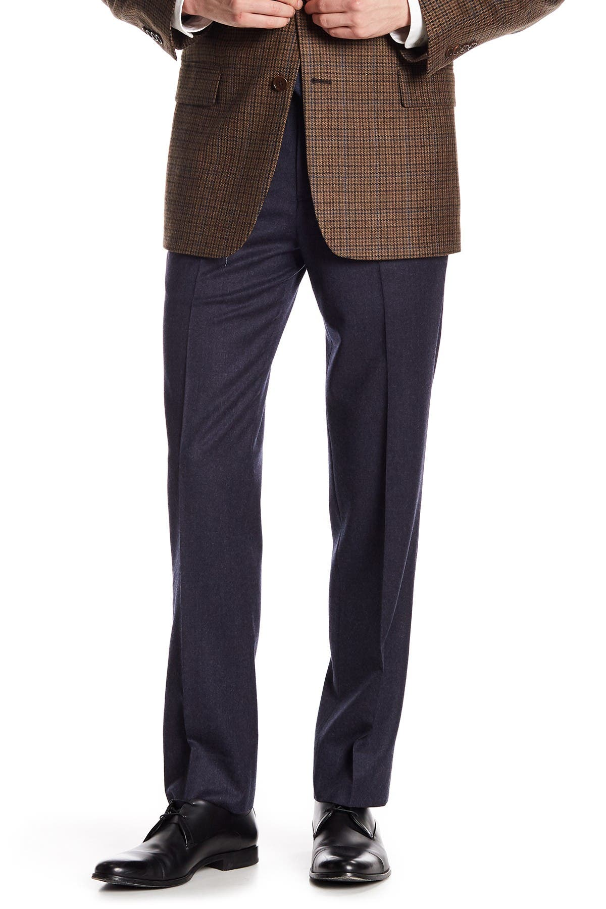 "Image of Brooks Brothers Blue Solid Classic Fit Wool Trousers - 30-34"" Inseam"