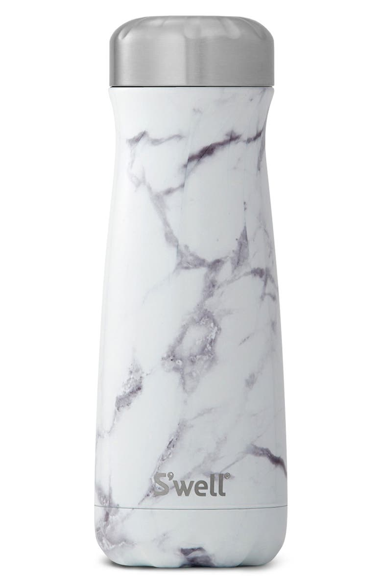 S'WELL Traveler White Marble Insulated Stainless Steel Water Bottle, Main, color, 021