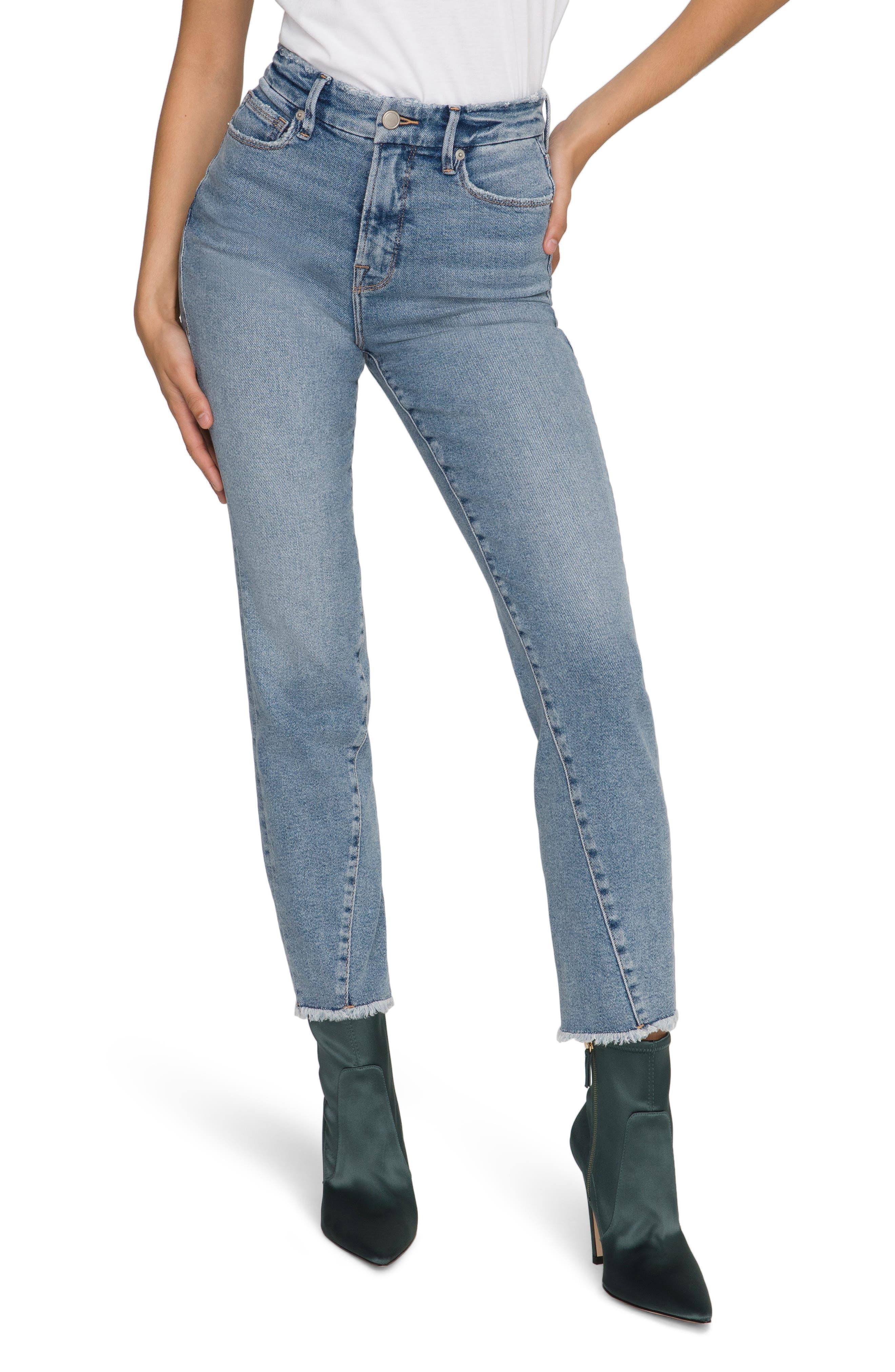 Women's Good American Good Vintage Twisted Seam Frayed Straight Leg Jeans