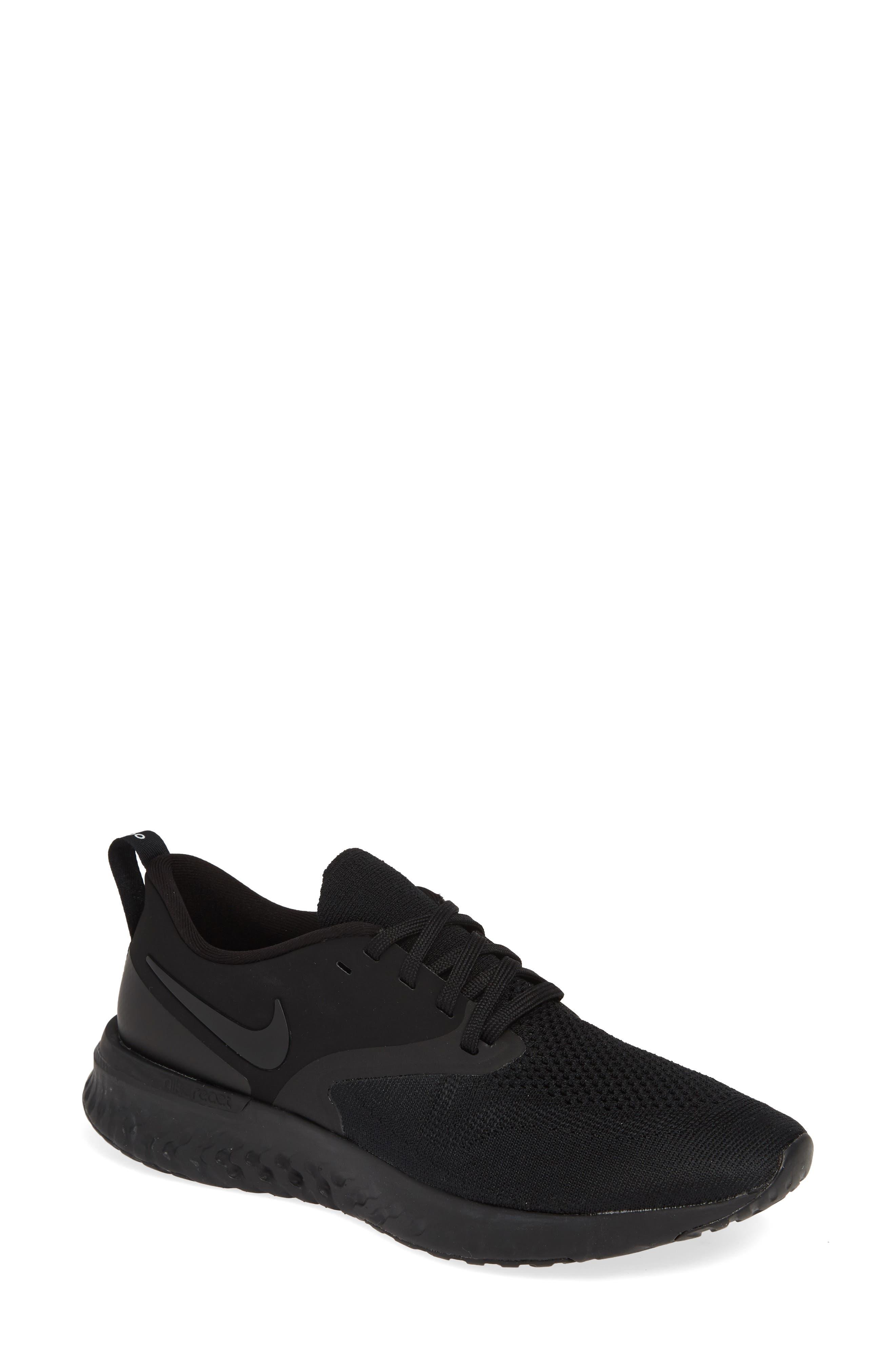 ,                             Odyssey React 2 Flyknit Running Shoe,                             Main thumbnail 1, color,                             BLACK/ BLACK/ WHITE