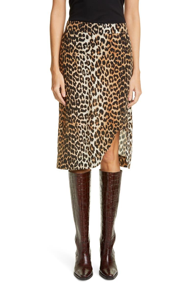 GANNI Leopard Print Skirt, Main, color, 200