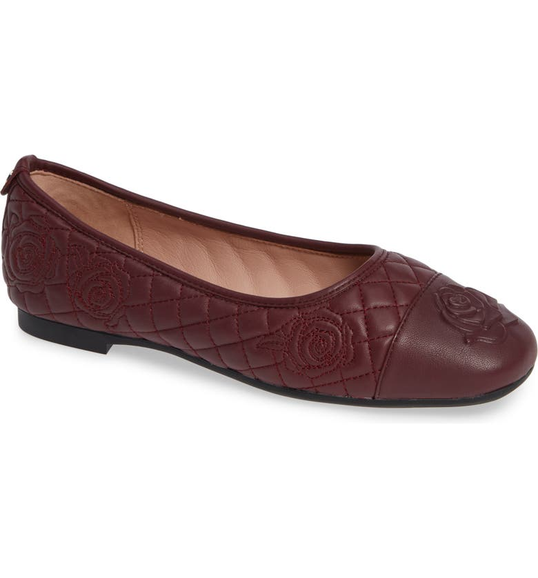TARYN ROSE Reese Embroidered Flat, Main, color, FIG LEATHER