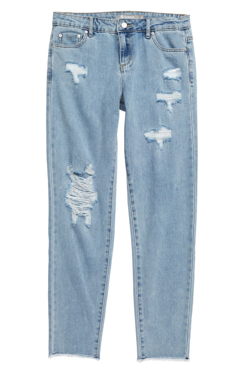 TRACTR Distressed High Waist Jeans, Main, color, LIGHT INDIGO
