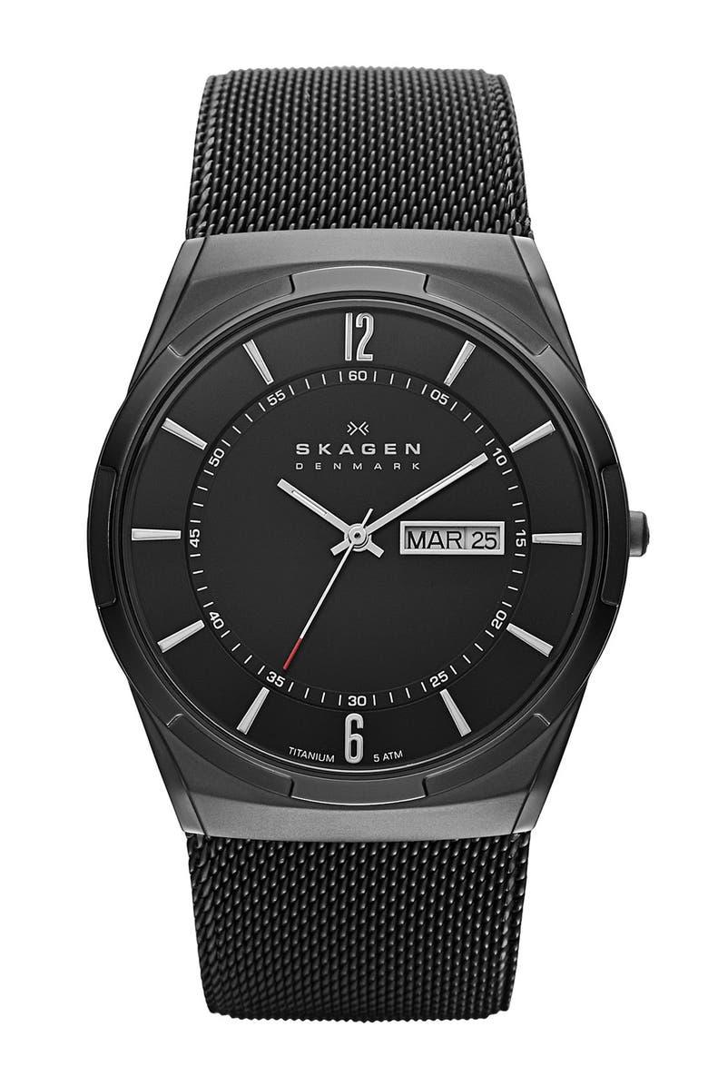 SKAGEN 'Melbye' Titanium Round Mesh Strap Watch, 40mm, Main, color, BLACK
