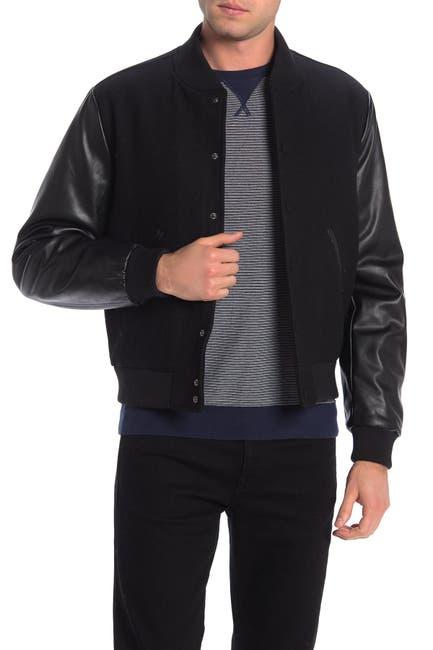 Image of Slate & Stone Faux Leather Sleeve Wool Blend Varsity Jacket