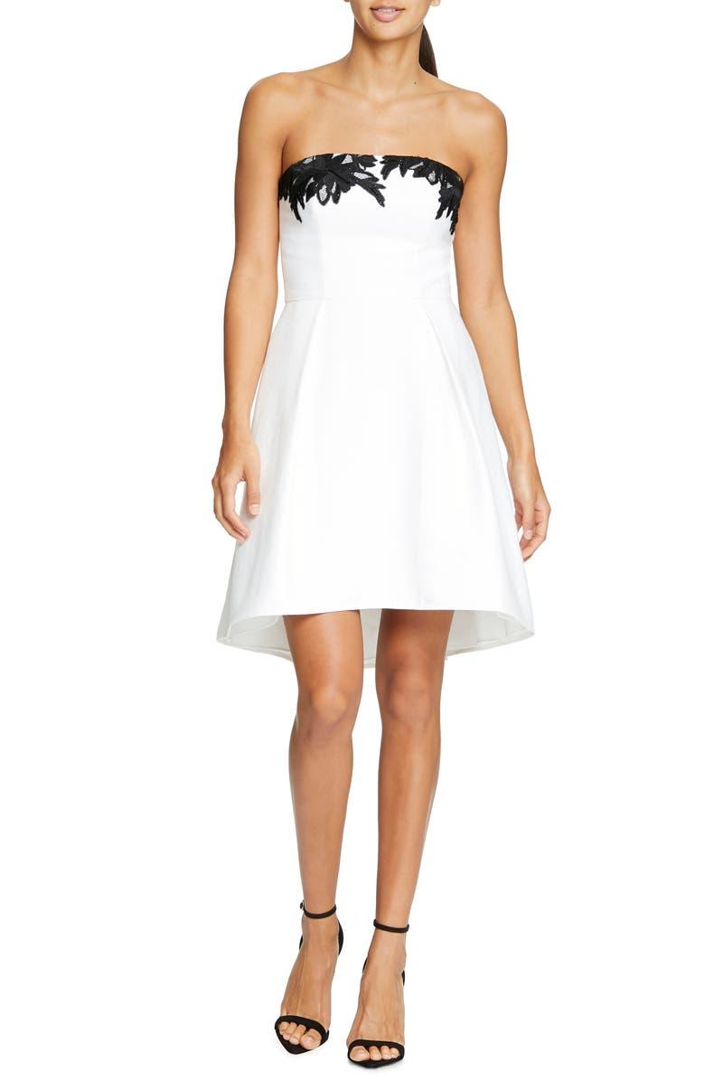 HALSTON HERITAGE Strapless Fit & Flare Cocktail Dress, Main, color, CHALK/ BLACK