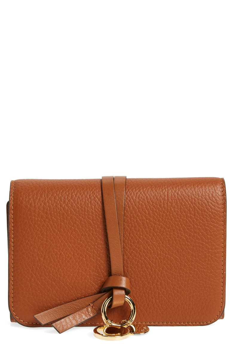 CHLOÉ Alphabet Leather Wallet, Main, color, TAN
