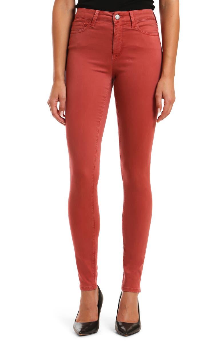 MAVI JEANS Alissa Sateen Skinny Jeans, Main, color, BRICK SATEEN TWILL