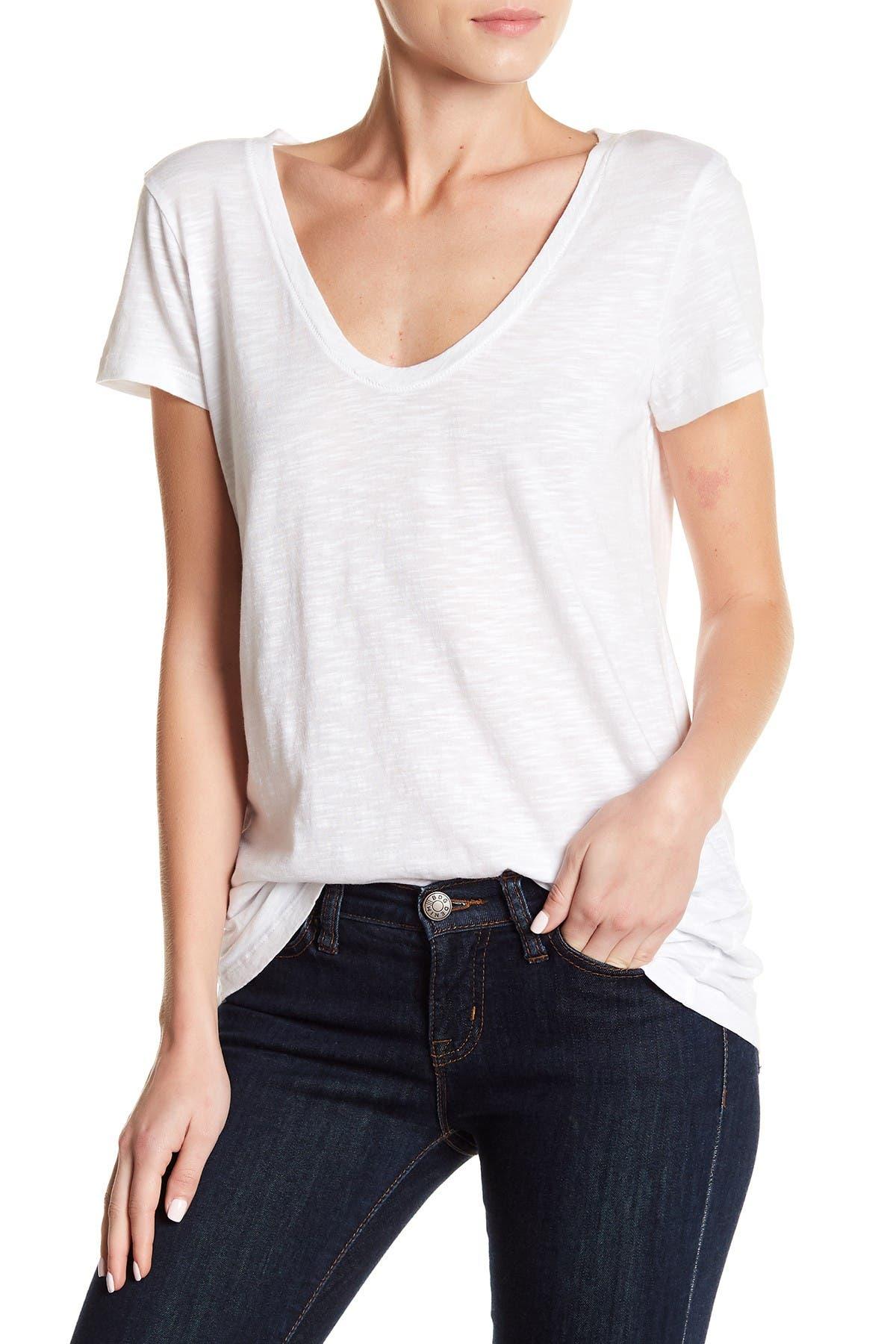 Image of SUSINA Scoop Neck Slub T-Shirt