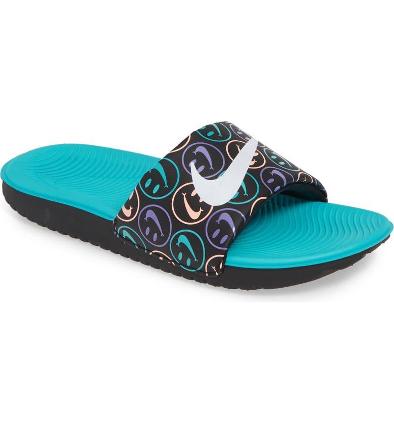 NIKE Kawa Slide Sandal, Main, color, BLACK/ WHITE-SPACE PURPLE-JADE