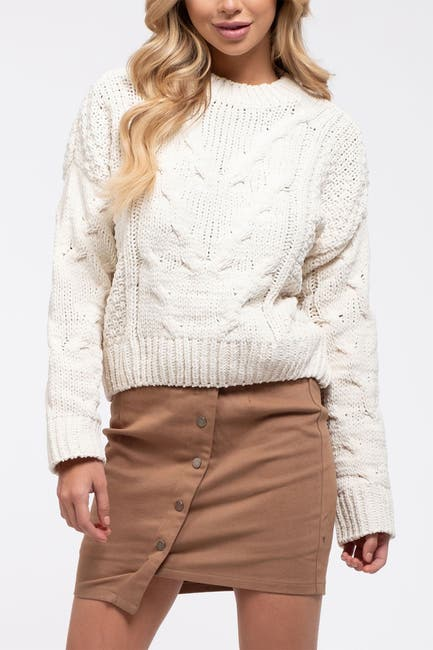 Image of J.O.A. Boxy Cable Knit Sweater