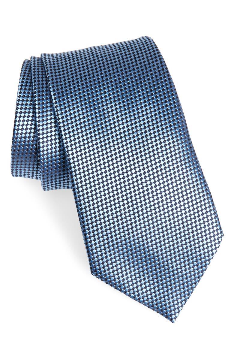 ERMENEGILDO ZEGNA Micro Geometric Silk Tie, Main, color, 432