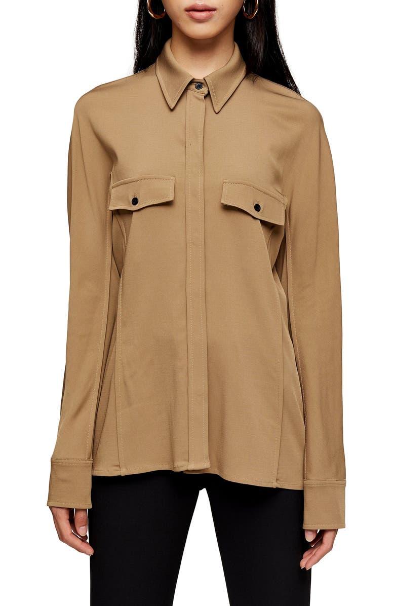 TOPSHOP BOUTIQUE Pintuck Button Front Shirt, Main, color, 252