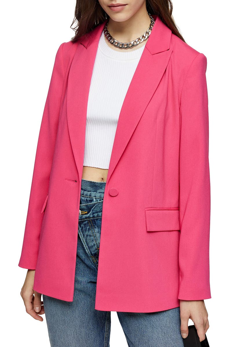 TOPSHOP Crepe Blazer, Main, color, BRIGHT PINK