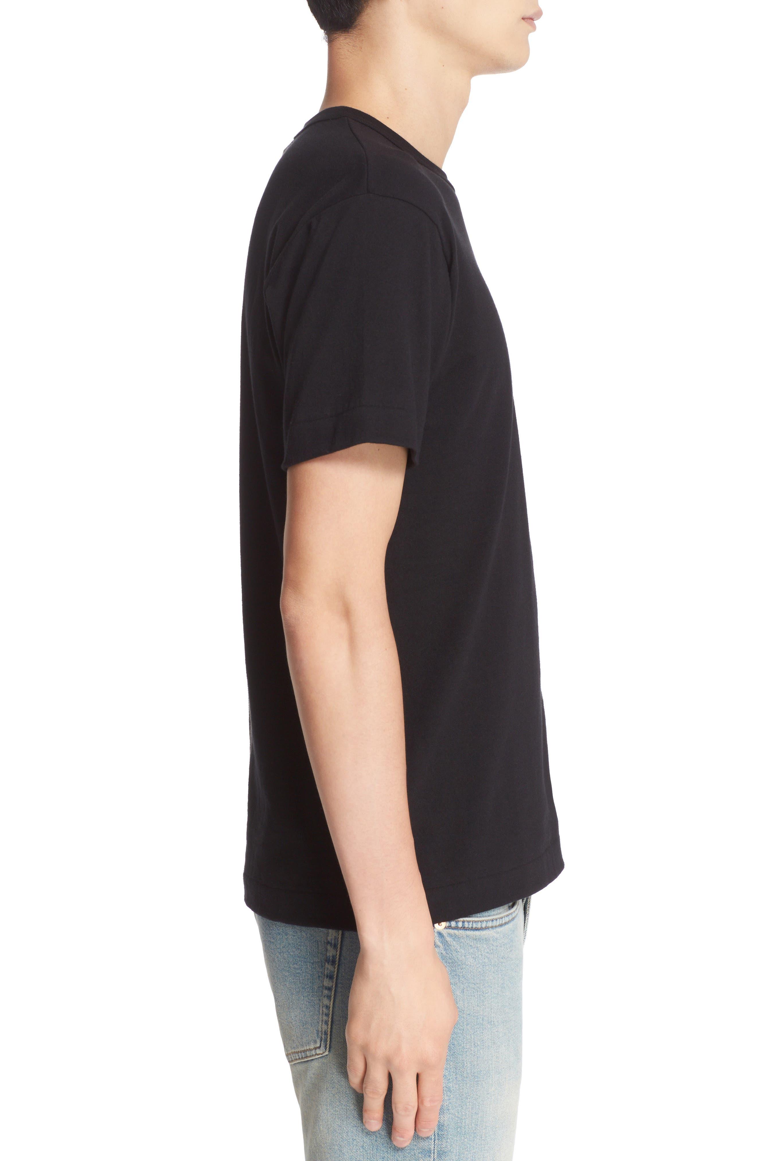 ,                             Stretch Face Heart Slim Fit T-Shirt,                             Alternate thumbnail 3, color,                             BLACK