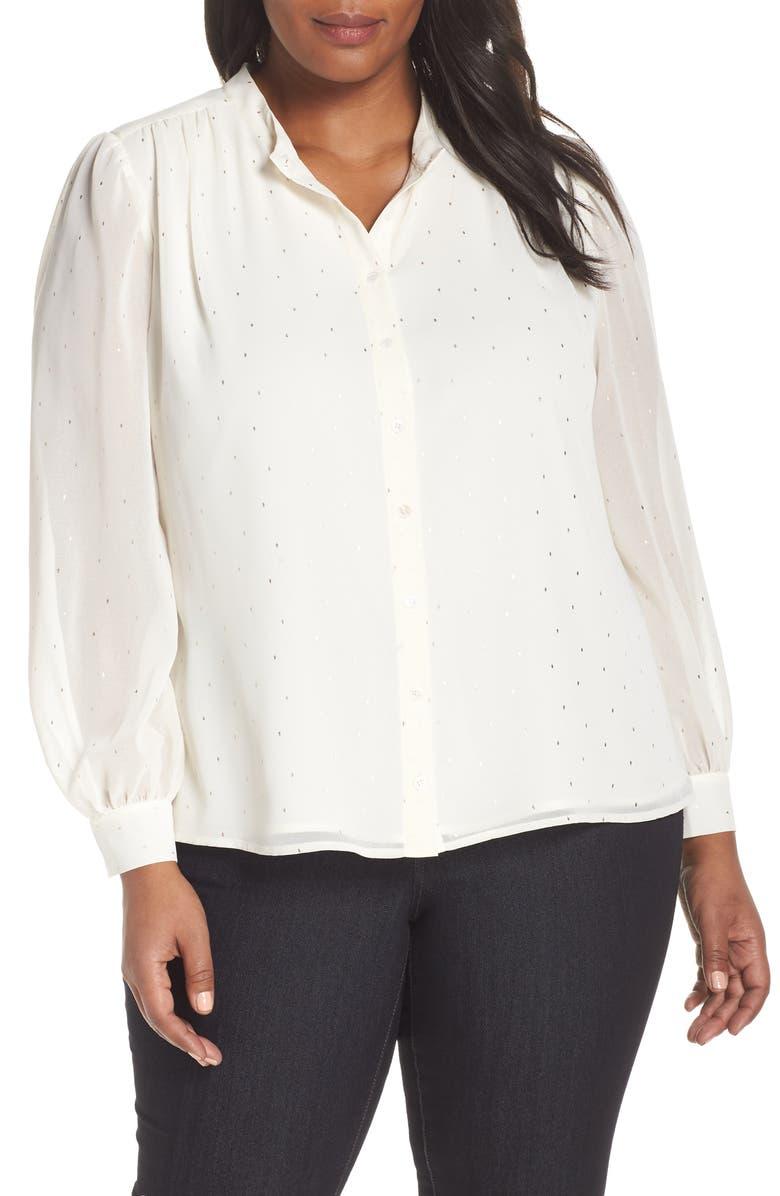 CECE Foil Dot Blouse, Main, color, ANTIQ WHITE