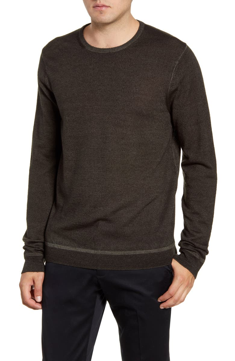 NORDSTROM SIGNATURE Merino Wool Crewneck Sweater, Main, color, GREEN FOREST
