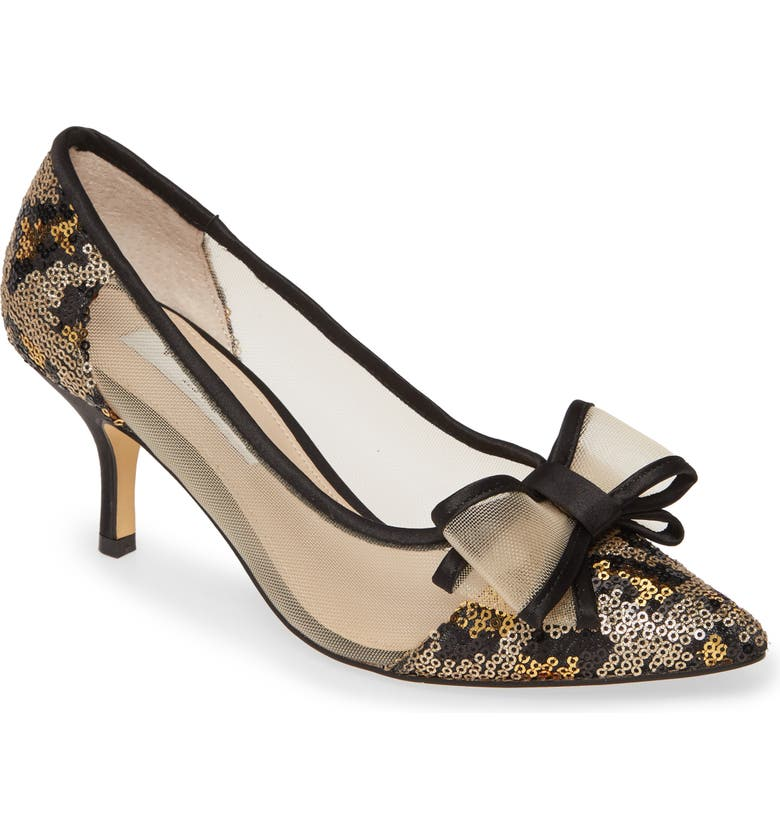 NINA Bianca Pointy Toe Pump, Main, color, GOLD/ BLACK PRINT FABRIC