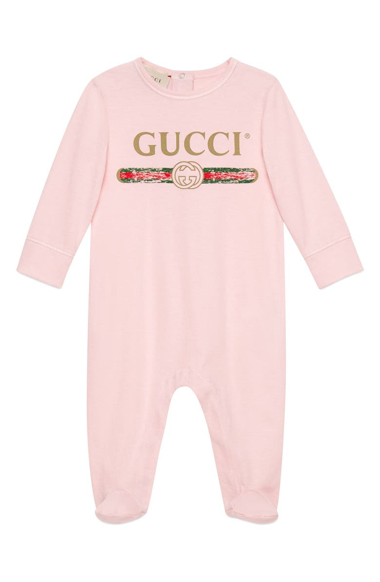 GUCCI Logo Cotton Footie, Main, color, PALEPINKSAND/ GRE/ RED