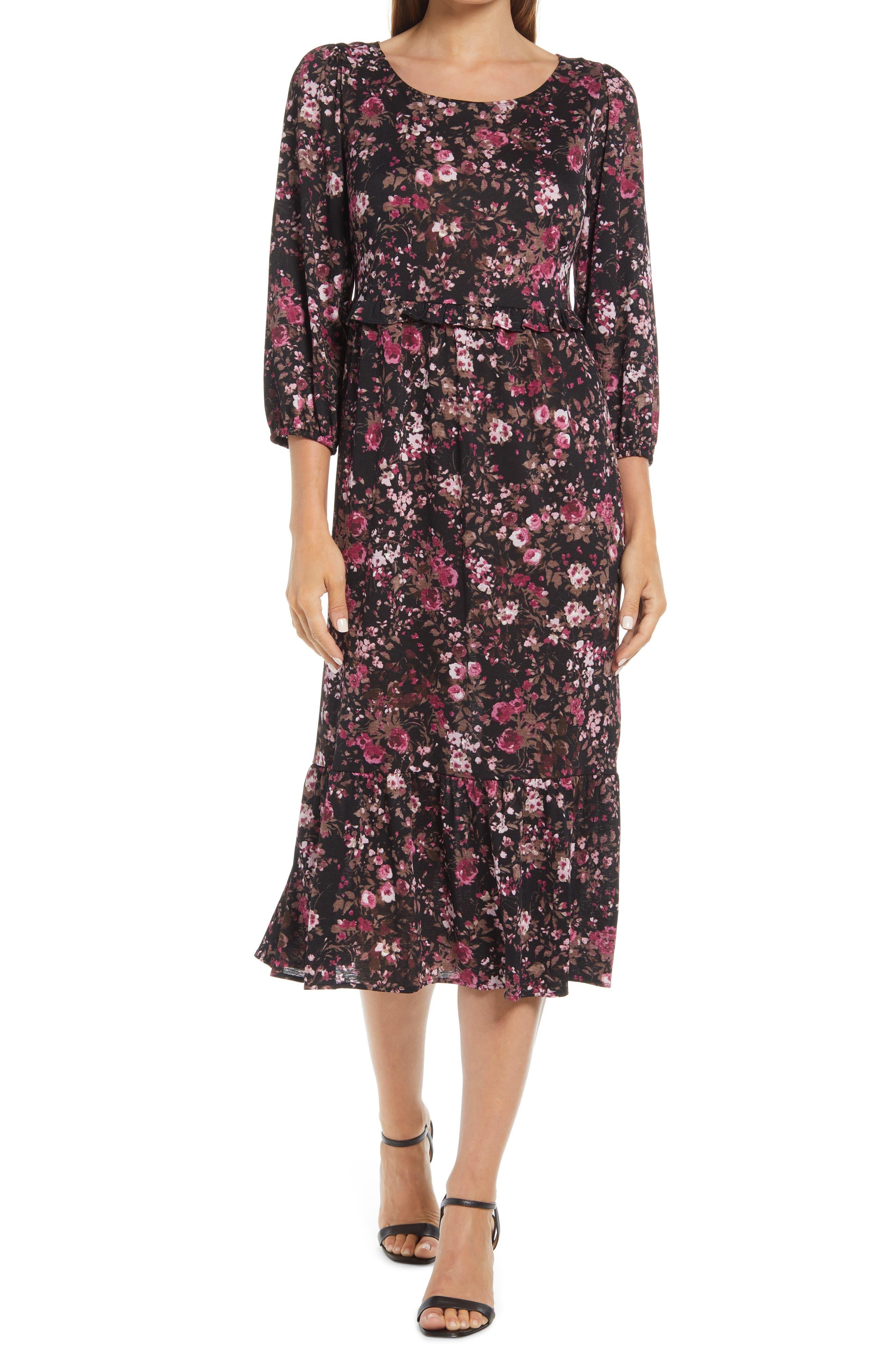 Floral Long Sleeve Stretch Knit Dress