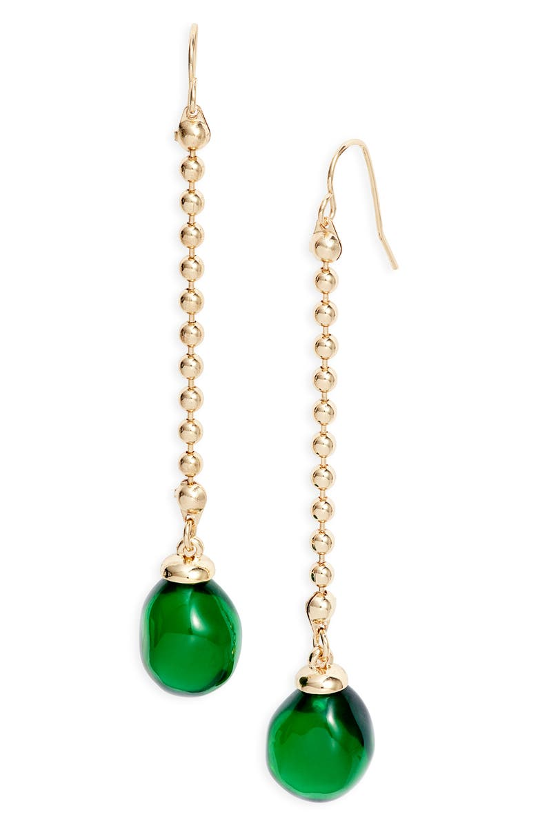HALOGEN<SUP>®</SUP> Synthetic Stone Linear Earrings, Main, color, GREEN- GOLD