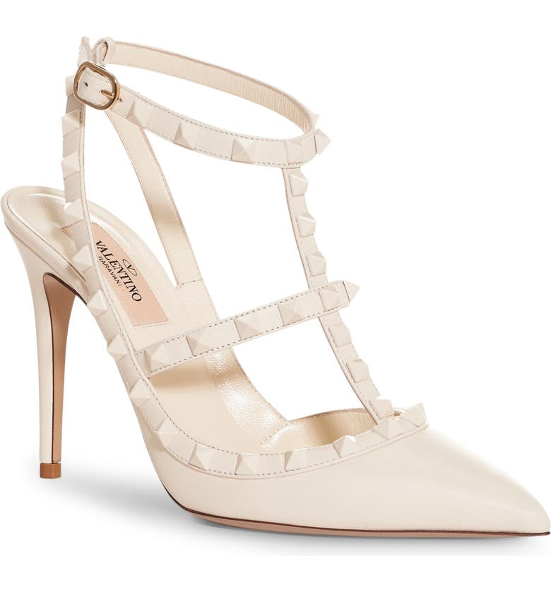 VALENTINO GARAVANI Rockstud T-Strap Pump, Main, color, WHITE LEATHER