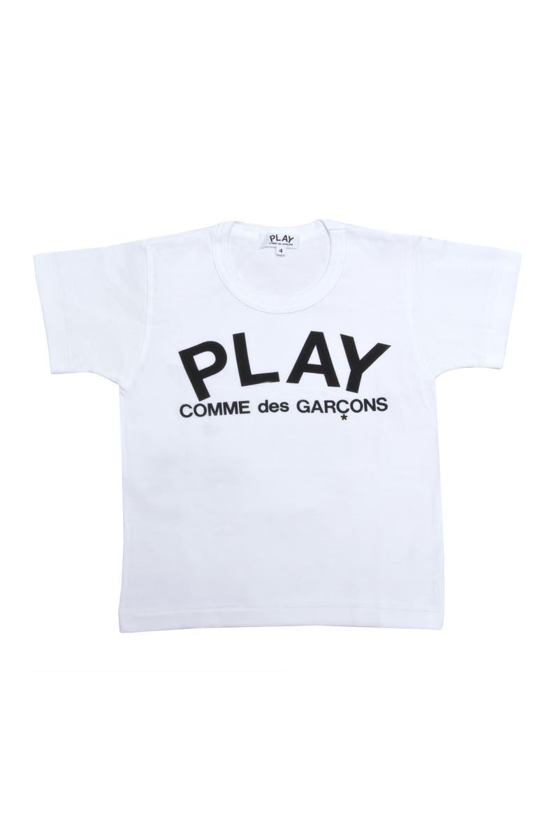 COMME DES GARÇONS PLAY Logo T-Shirt, Main, color, WHITE