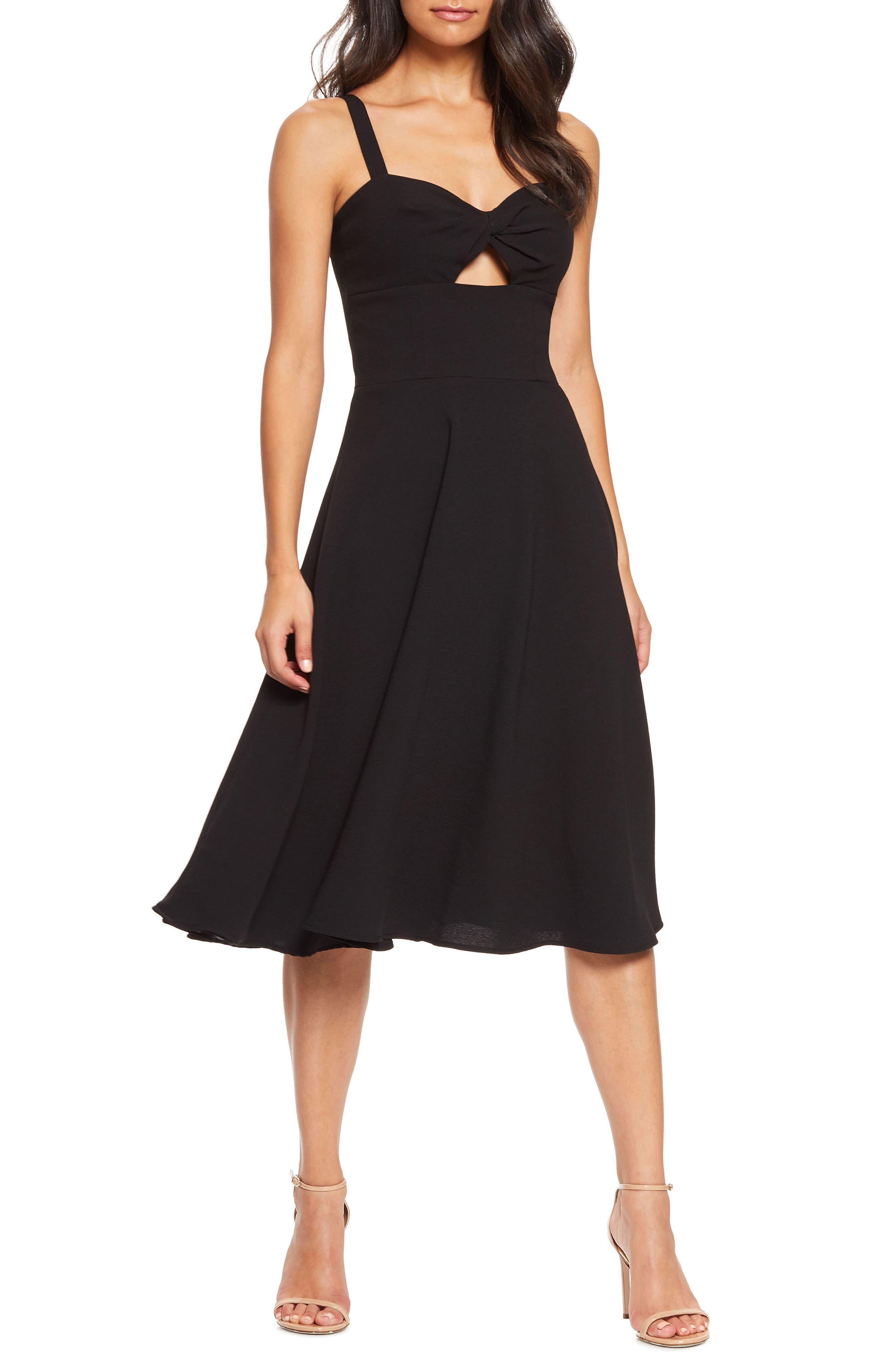 Dress The Population Bianca Sweetheart Midi Cocktail Dress, Black