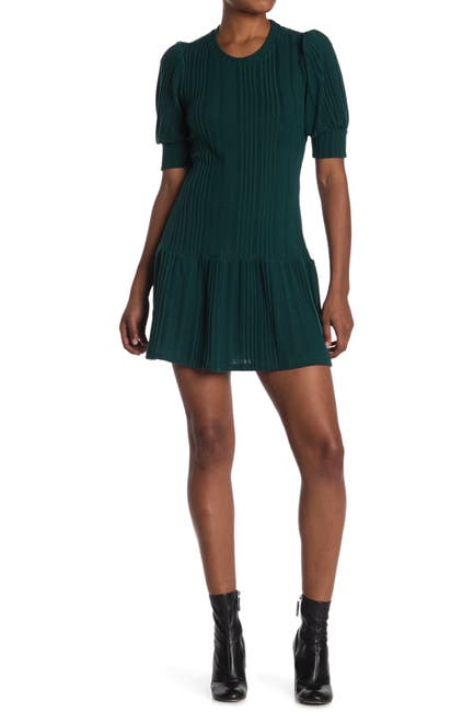 Image of MAX & ASH Puffed Sleeve Ribbed Knit Mini Dress
