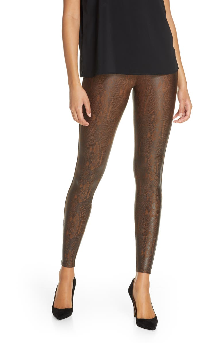 SPANX<SUP>®</SUP> Snake Print Faux Leather Leggings, Main, color, BROWN SNAKESKIN