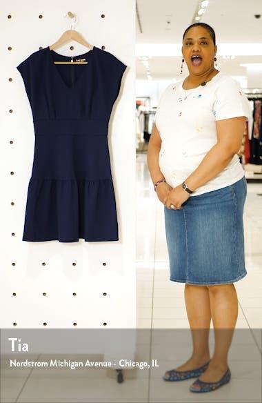 ponte flounce dress, sales video thumbnail