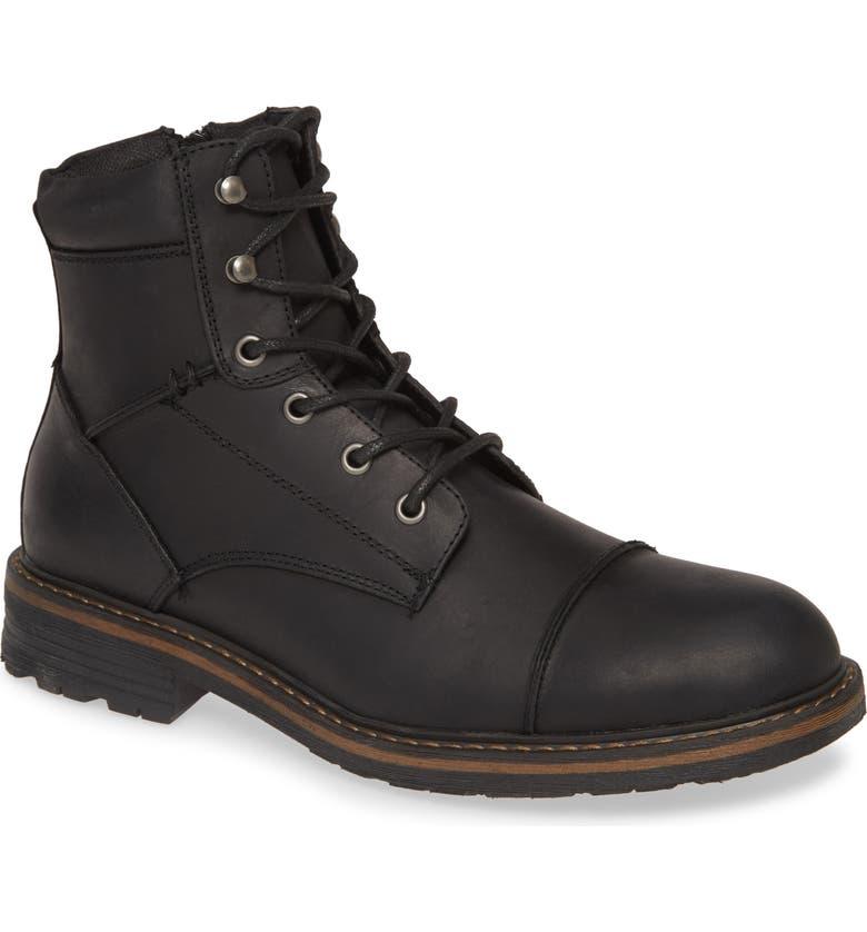 BP. Derek Cap Toe Boot, Main, color, BLACK LEATHER