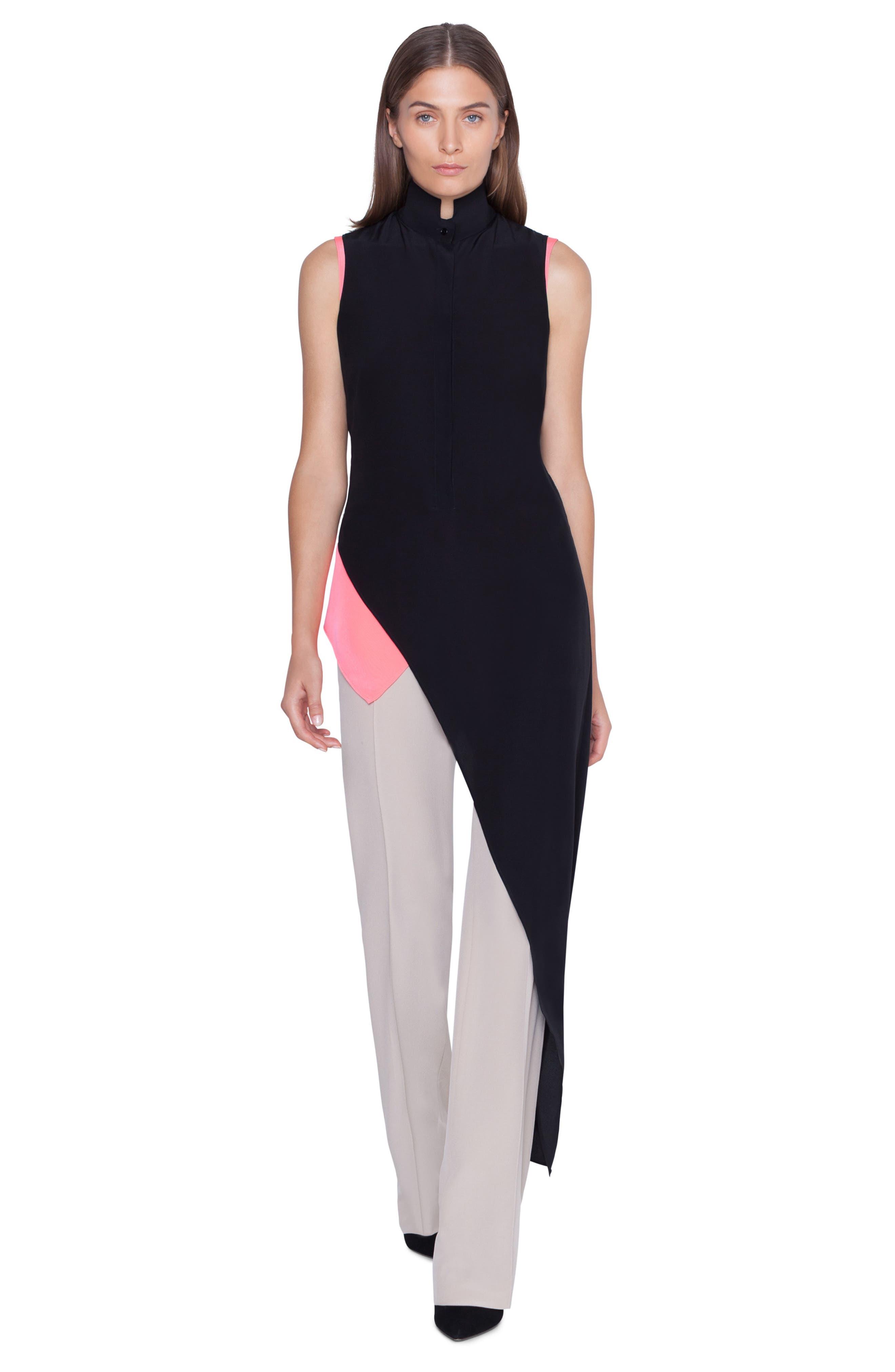 ,                             Asymmetrical Silk Crepe Tunic,                             Alternate thumbnail 4, color,                             BLACK