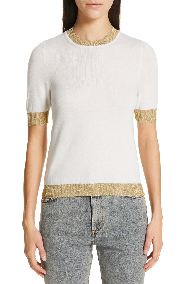 GUCCI Metallic Trim Cashmere & Silk Sweater, Main, color, IVORY/ GOLD