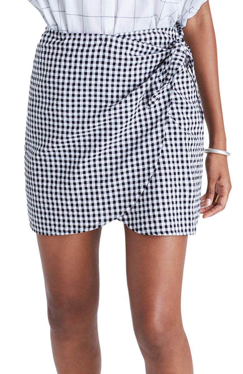 MADEWELL Gingham Wrap Miniskirt, Main, color, 009