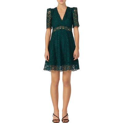 Sandro Hearty Lace Fit & Flare Cocktail Dress, US / 40 FR - Green