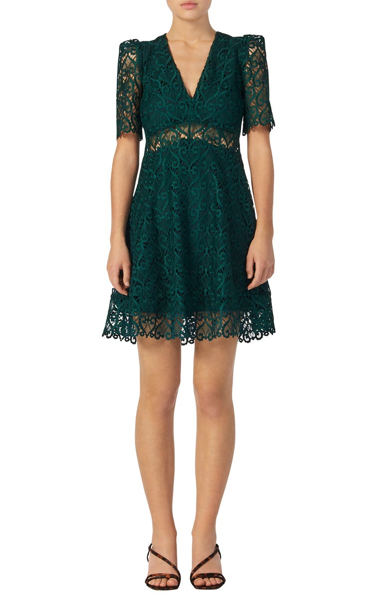 SANDRO Hearty Lace Fit & Flare Cocktail Dress, Main, color, 300