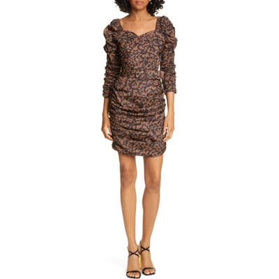 Nicholas Ruched Puff Sleeve Minidress, Black