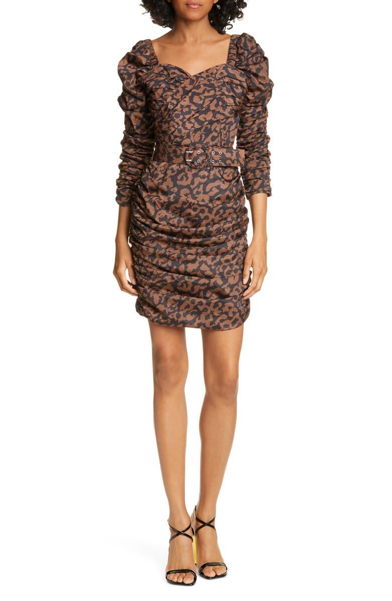 NICHOLAS Ruched Puff Sleeve Minidress, Main, color, BLACK LEOPARD MULTI