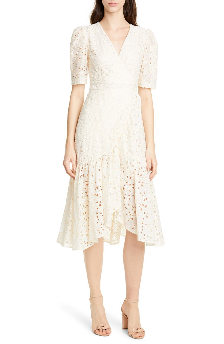 REBECCA TAYLOR White Clover Embroidery Cotton & Silk Midi Dress, Main, color, VANILLA