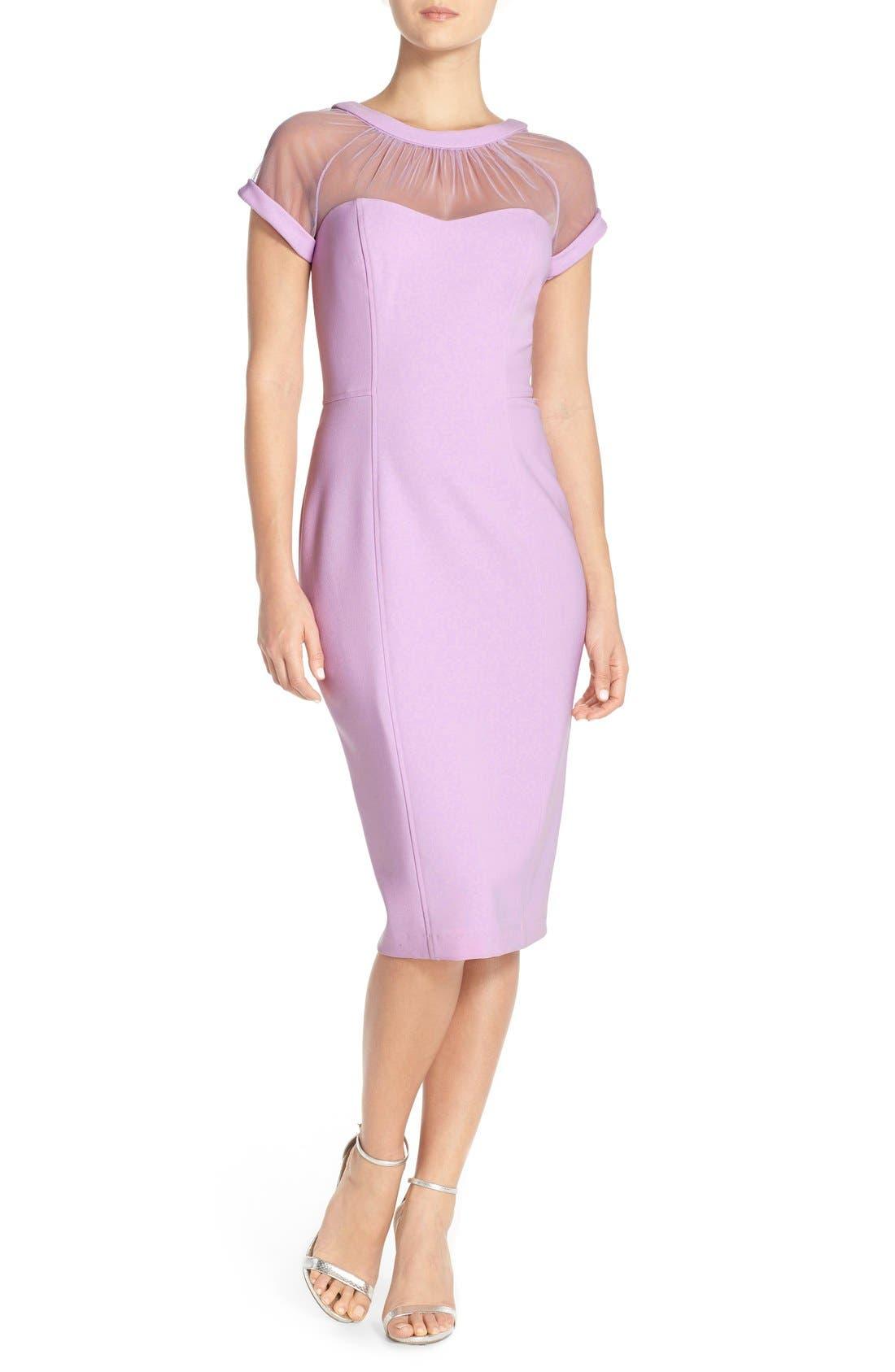 ,                             Illusion Yoke Crepe Sheath Dress,                             Main thumbnail 31, color,                             440