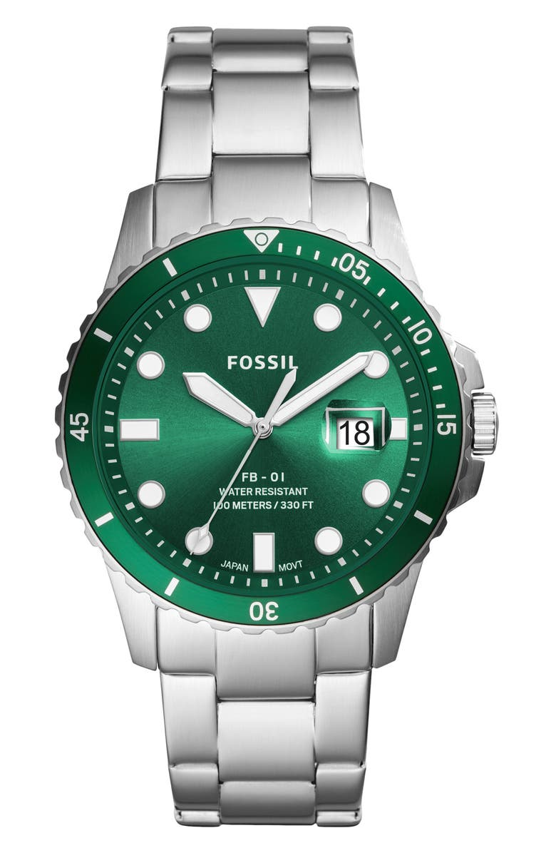 FOSSIL FB-01 Bracelet Watch, 42mm, Main, color, SILVER/ GREEN/ SILVER