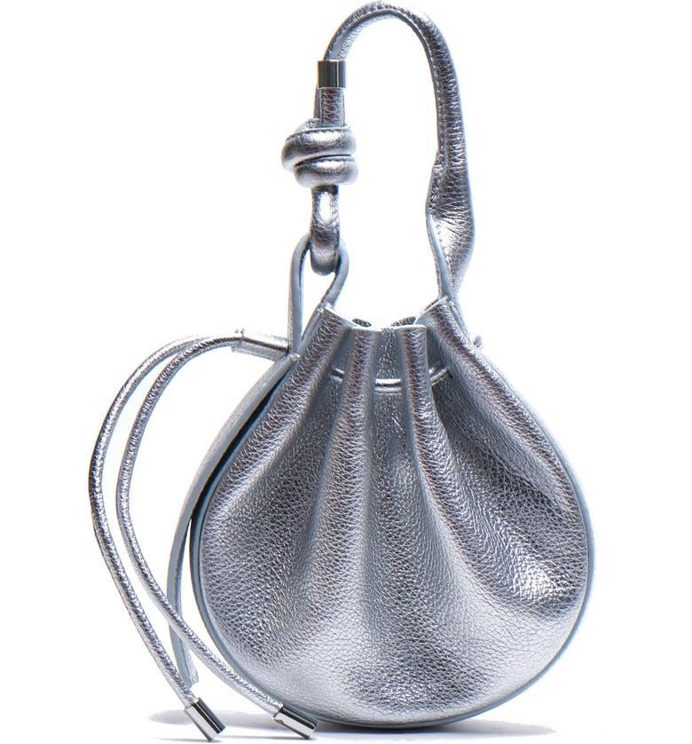 BEHNO Ina Mini Metallic Leather Crossbody Bag, Main, color, SILVER